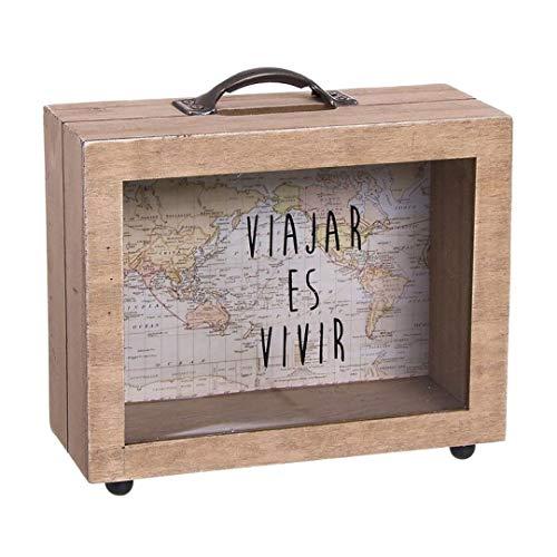 Dream Hogar Hucha de Madera Travel World 18x14x7 cm