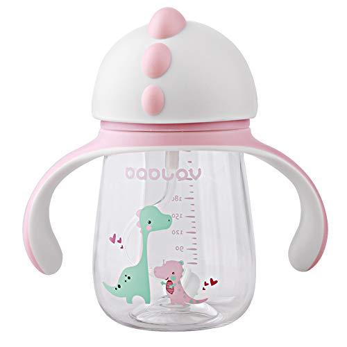 JYCRA Bicchiere con cannuccia per bambini portatile con cannuccia silicone e manici antiscivolo per bambini 260ML rosa