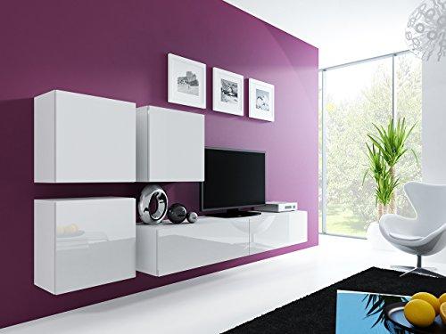 Wohnwand – Set mit Anbauwand in weiß mit Hängeschrank kaufen  Bild 1*