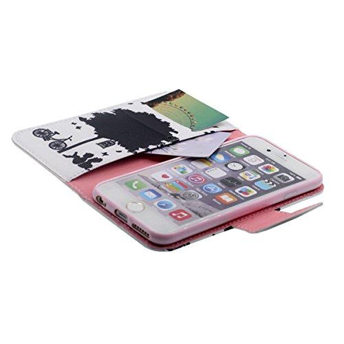 """Flip Libro Portafoglio Borsa Apple iPhone 6S Plus / 6 Plus 5.5"""" Custodia Protettiva ( Rosa ) Antiurto, PU Pelle Luce Case Cover, Bella Apparenza Originale design Modello Serie Stile per le Ragazze Bianco"""