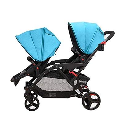 Cochecito de bebé Gemelo Asiento Delantero y Trasero Doble Ligero Recién Nacidos Alto Paisaje Plegable Puede Sentarse Reclinado Cochecito de bebé