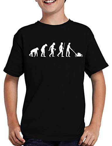 Touchlines Evolution Rasenmäher T-Shirt Kinder Lustig Spass Fun Nerd 152/164 Schwarz