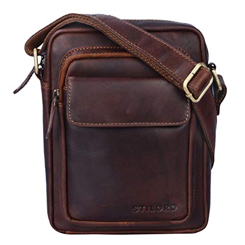 STILORD \'Jannis\' Leder Umhängetasche Männer klein Vintage Messenger Bag Herren-Tasche Tablettasche für 9.7 Zoll iPad Schultertasche aus echtem Leder, Farbe:Cognac - Dunkelbraun