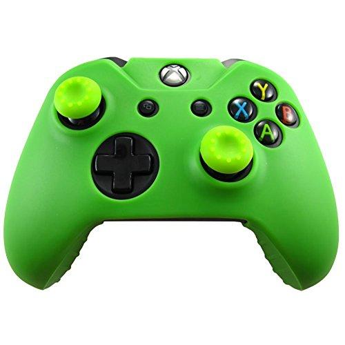 Silikonhülle Haut Chützende Gummi für XBOX ONE Controller + Daumengriff Stick-Kappe x 2 (Grün)