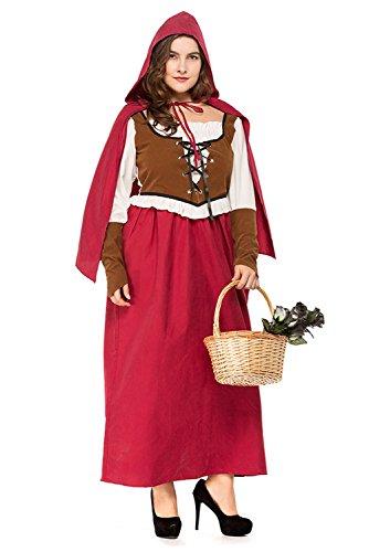 Joyplay Karneval Damen übergröße Kleid Rotkäppchen Kostüm/Fasching/Halloween-Parties - Übergröße Rotkäppchen Kostüm