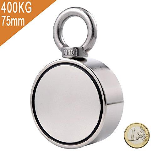 Uolor 400Kg Haftkraft Doppelseitig Neodym Ösenmagnet, Super Stark Power Magnete Perfekt zum Magnetfischen - Ø 75mm mit Öse Neodymium Topfmagnet