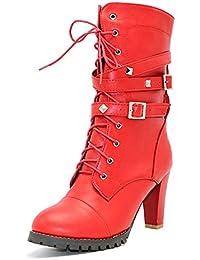 Minetom Otoño Invierno Cómodas Para Mujer Zapato Boots Shoes Cuero Botines Botas De Martin Callejero Moda