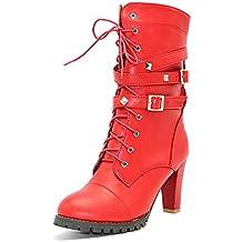 Minetom Otoño Invierno Cómodas Para Mujer Zapato Boots Shoes Cuero Botines Botas De Martin Callejero Moda Tacones Altos Casual Elegante