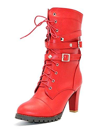 Patent Stiletto Pump (Minetom Damen Wasserdichte PU Leder Stiefel Mit Hohen Absätzen Martin Biker Schnürstiefel Mit Nieten Riemen und Schnallen Punk Schuhe Rot EU 37)
