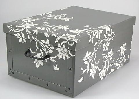 Aufbewahrungs Box Karton ca. 51x37x24cm, weiße Blumen-Ornamente, grau