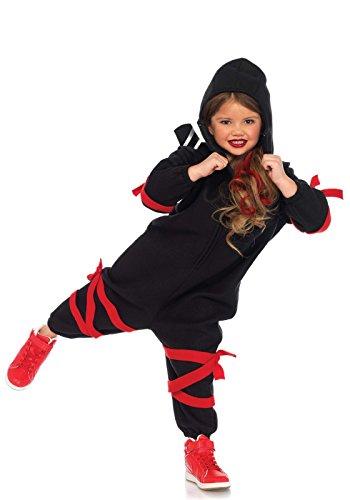 Prinzessin Kostüm Ninja - LEG AVENUE C49102 - Kinder Kostüm Cozy Ninja Onesie M/L (132-145 cm) schwarz rot