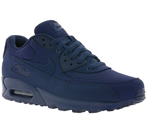 Nike Mens Air Max 90 Essenziale In Pelle Blu Scuro / Pelle Sintetica / Sneaker In Tessuto Blu