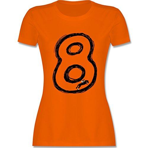 Reitsport - Acht Sprungreiten Endlosschleife - tailliertes Premium T-Shirt mit Rundhalsausschnitt für Damen Orange