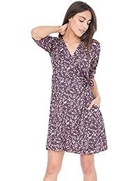 Robe portefeuille Imprimé floral violet avec manches 3/4