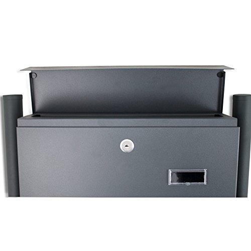 BITUXX® Doppelstandbriefkasten Briefkasten Postkasten Mailbox Letterbox Briefkastenanlage mit integrierten Zeitungsfach Dunkelgrau Anthrazit - 5
