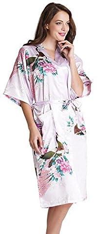 Aibrou Femme Motif Exotique Paon Fleur Kimono chemise de nuit Satin Peignoir (Medium, longue Violet clair)