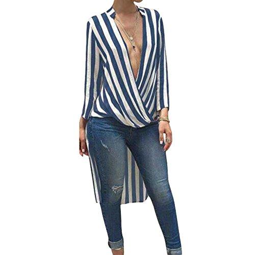 Sfit Frauen Sommer Bluse Streifen Tunika Lang V-Ausschnitt Langarmshirt Vorne Kurz hinter Lang Beiläufige T-Shirt Oversize Tops Hemdkleid Shirtkleid