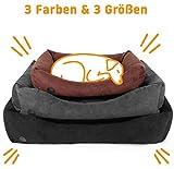 Pets&Partner® Hundebett aus Velour für große und kleine Hunde, waschbar, Größe S bis L, S Schwarz