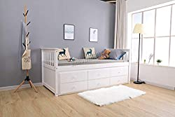 WestWood 3ft Single Daybed Solid Wood Frame No Mattress With 3 Storage Drawers Trundle Guest Bed Furniture DSW04 White