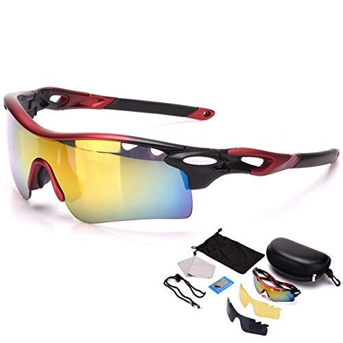 WULE-RYP Polarisierte Sonnenbrille mit UV-Schutz Polarisierte Sport-Sonnenbrille Set 3pcs Wechselobjektive UV400 Schutz Fahren Radfahren Laufen Angeln Superleichtes Rahmen-Fischen, das Golf fährt