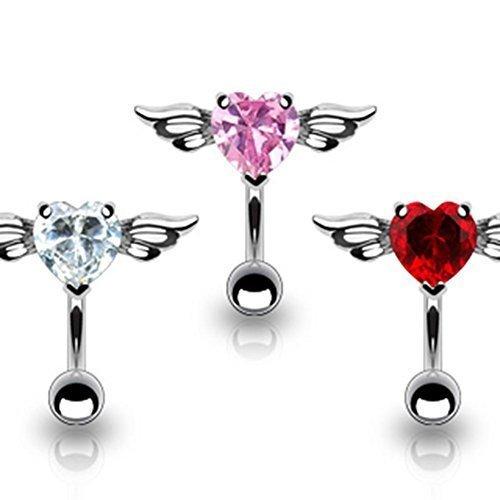 Coolbodyart piercing de nombril en acier chirurgical argenté herzzirkonia incolore, rose, rouge, avec ange De 3 parties Ensemble de chaque une Couleur
