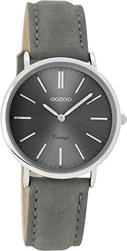 Oozoo Vintage Damenuhr Lederband 32 MM Grau/Grau C8823