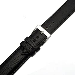 Verona Padded Camel Grain XL Extra Long Leather Watch Strap Band 24mm Black with Chrome (Silver Colour) buckle