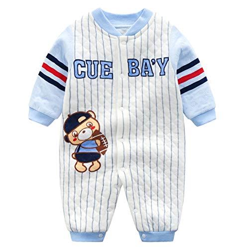 YFPICO Baby Overall Strampler mit Cartoon-Stickerei Jungen Mädchen Babystrampler Schlafanzug Jumpsuit Onesie Unisex Baumwolle, Blauer Baseball-Bär, 0-3 Monate