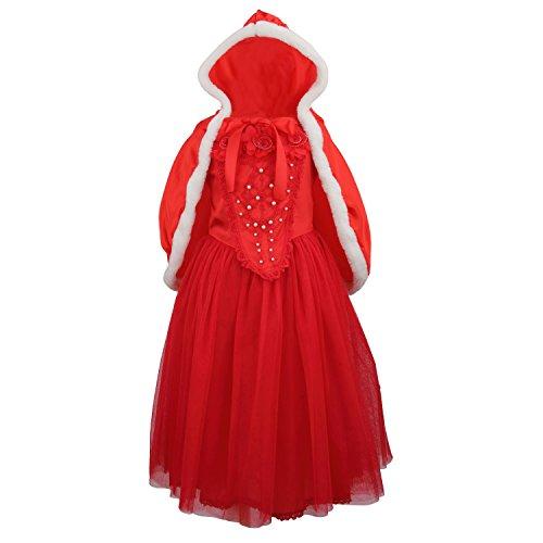 lsa Kleid Eiskönigin Cinderella Prinzessin Kostüm mit Umhang für Karneval Weihnachten Halloween Cosplay Party (Rot, 5-6 Jahre) ()