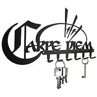 steelprint.de Key hook - * Carpe Diem * - seize the day - key holder for wall - black - keys rack