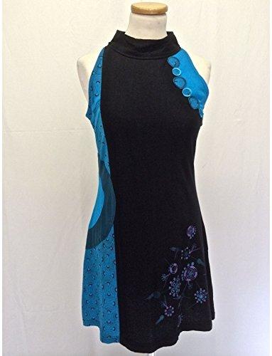 TUNIQUE ETHNIQUE COL MAO réf:EV13-14/2 Noir/Bleu