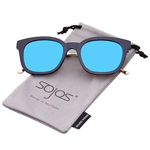 SOJOS Gafas De Sol Unisex Hombre Mujer Clásico Retro Cuadrado Polarizado  SJ2050 J65gq9Un 618fa6e261d
