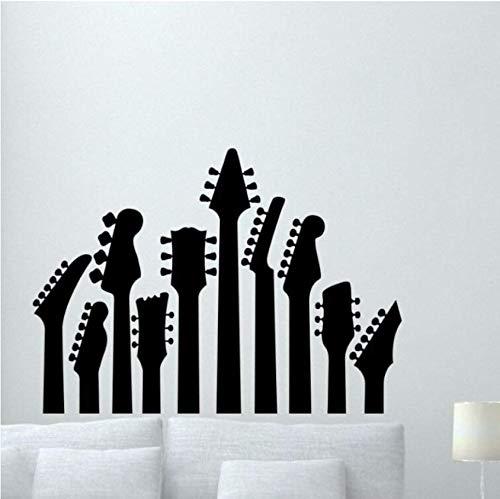 Adesivo murale chitarra Adesivo murale Rock Metal Art Decor Vinile Musica Guitas Adesivo murale Musica per la casa Decorazione artistica 57x41CM
