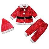 Le SSara Bambino inverno 3pcs Natale Babbo Natale vestito Costume cappello + cappotto + pantaloni (0-6 mesi)