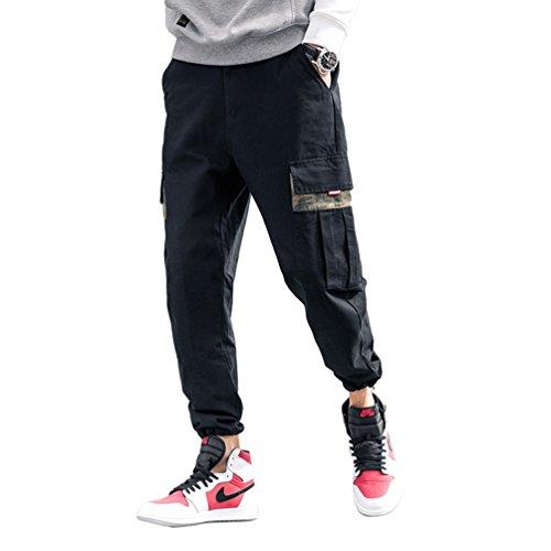 Dooxi Herren Jugend Mode Lose Hip Hop Jogginghose Kampfhose Camo Cargo Trainingshosen Freizeithosen mit Mehreren Taschen Schwarz 2XL