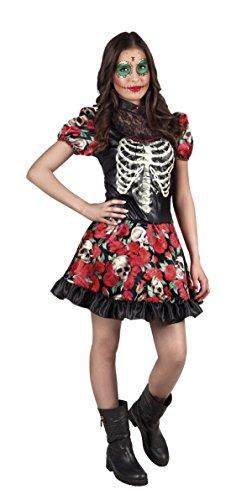 Fancy Ole - Damen Frauen Fashion Skelettkleid mit Blumenprint, Mehrfarbig, 164-176, 14-16 Jahre