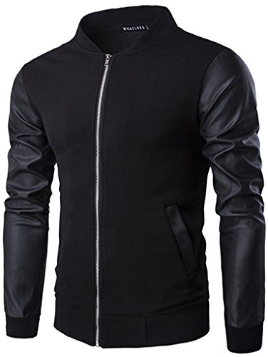 Whatlees Unisex Hip Hop Urban Basic Bomberjacke MA-1 Baseballjacken Raglan shirts mit Kunstleder arm B140-Black