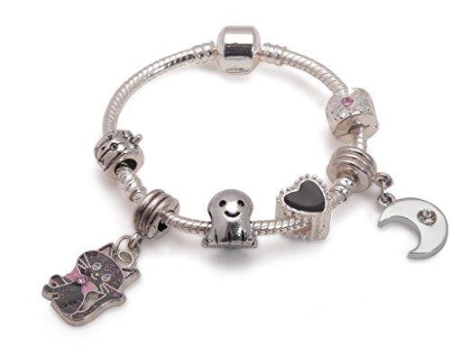 hsene Jugendliche Lucky Black Cat Halloween Ghost Silber Charm Armband. Mädchen Party Geschenk (weitere Größen erhältlich) ()