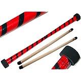 Flames 'N Games Pro Devil Stick Set - Twist + Houten Handstokken ! Pro Devil Sticks voor Kinderen en Volwassenen! (Rood/Zwart)