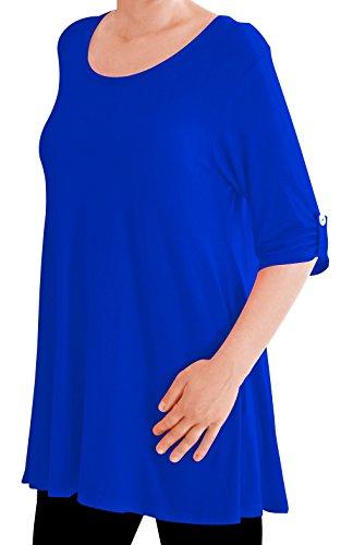 Eyecatch TM Oversize - Haut Tunique manches longues 3/4 large col rond grandes tailles- Jessica - Femme Royal bleu