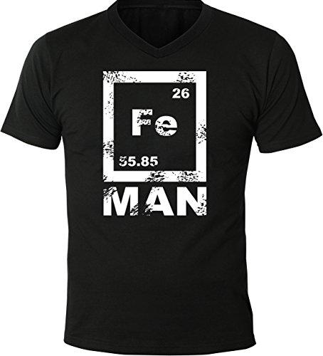 Mister Merchandise Herren V-Ausschnitt T-Shirt FE Man Iron Man, V-Neck, Größe: M, Farbe: Schwarz