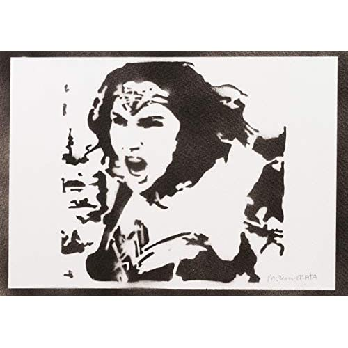 Poster Wonder Woman Liga de la Justicia Grafiti Hecho a Mano - Handmade Street Art - Artwork 2