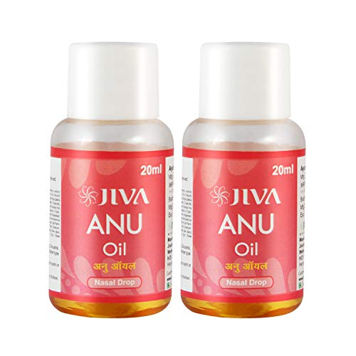 Jiva Ayurveda Anu Oil for Headache, and Migraine | Enriched with Sandalwood, Cinnamon, Ginger, Turmeric 20 (ml)|Pack of 2