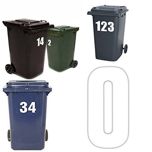 Türen Große Garage, (comtechlogic® cm-4010Große Mülltonne Anzahl Selbstklebende Stick auf Aufkleber Weiß 2Stück Zahlen Zahlen, weiß, Number 0)