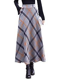 42d3da75d44c3f Damen Vintage Elegant Plaid Gestreiftes Wollrock hohe Taille Langen röcke  Warm Wolle Retro Winterrock Herbst Elastische