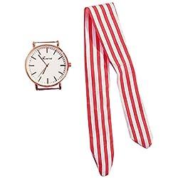 Faraw Reloj de pulsera con correa desmontable, reloj de cuarzo con correa de rayas reloj para niñas