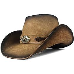 Accesorios de vestir Gorro de vaquero occidental retro para hombre, de cuero, sombrero de fedora, papá, caballero, enrollar para arriba Sombrero Hombre Panamá Jazz Caps Sombrero para el sol Tamaño 58-