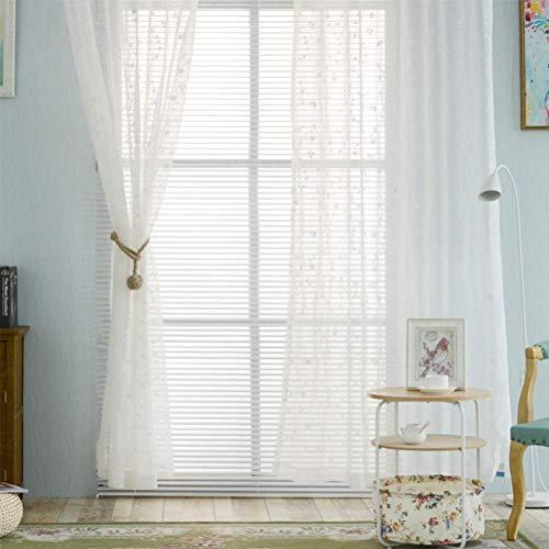 Weiß Einzelschicht Transparent Voile Ösen Vorhang 2 Farben Blumenmuster Handstickerei 5 Größen 150 * 280Cm Geeignet Für Wohnzimmer Schlafzimmer,White,150 * 280