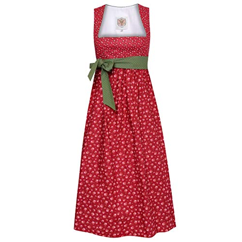 Schwangerschaftsdirndl Nina in Rot mit Blumen und mit grüner Schleife