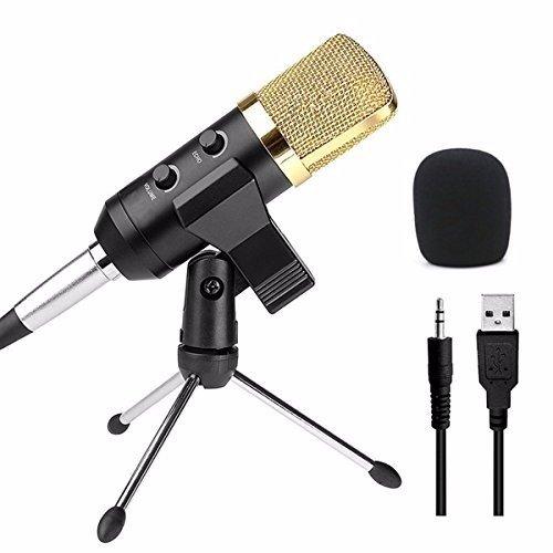 ELEGIANT Professionale Microfono a Condensatore da Studio Microfono Studio Trasmissione Audio Registrazione Microfono a Condensatore Set Studio Microfono oro Nero Broadcast Cantare con Supporto Per Laptop e Skype